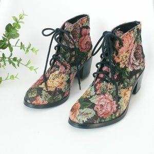 Diba Floral Tapestry Fabric Lace Up Ankle Booties